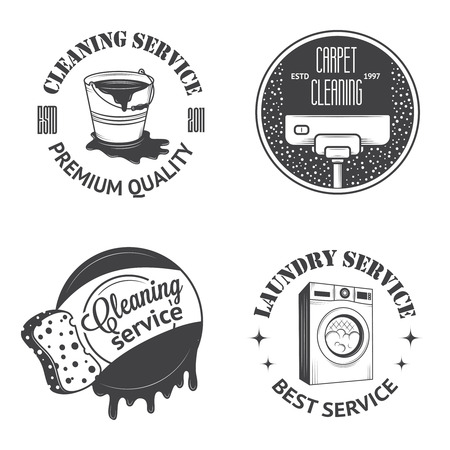 cleaning equipment: Set of vintage icons, labels and badges cleaning services