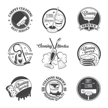 escoba: Conjunto de antiguos iconos, etiquetas y escudos servicios de limpieza
