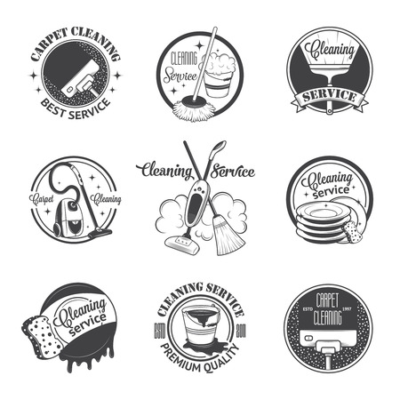 mop: Set of vintage icons, labels and badges cleaning services