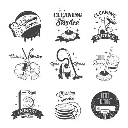 machine à laver: Ensemble d'icônes vintage, étiquettes et écussons des services de nettoyage