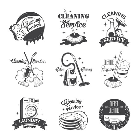 dirty carpet: Set of vintage icons, labels and badges cleaning services