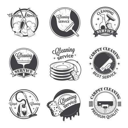Set van vintage pictogrammen, labels en badges schoonmaakdiensten