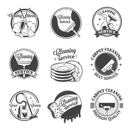 dweilen: Set van vintage pictogrammen, labels en badges schoonmaakdiensten