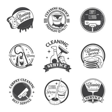 sirvienta: Conjunto de la vendimia logotipos, etiquetas y escudos servicios de limpieza