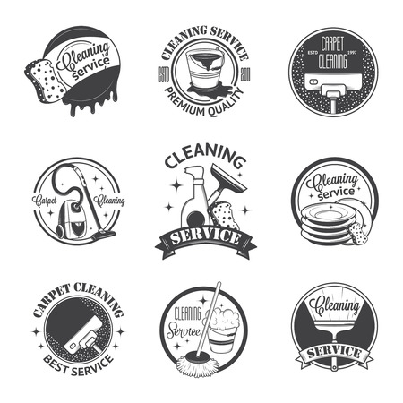 house maid: Set of vintage logos, labels and badges cleaning services