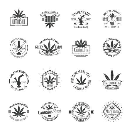 bong: Set of medical marijuana logos. Cannabis badges, labels and logos