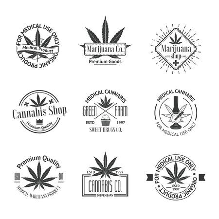 医療用マリファナのロゴのセットです。大麻のバッジ、ラベル、ロゴ