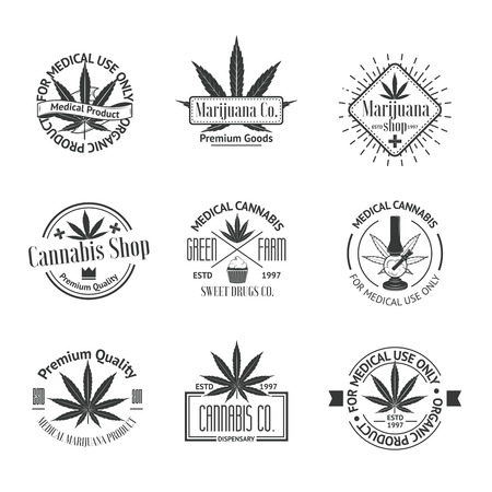 saludable logo: Conjunto de insignias de la marihuana medicinal. Insignias de cannabis, etiquetas y logos