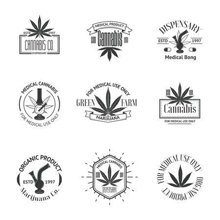 weeds: Set of medical marijuana logos. Cannabis badges, labels and logos