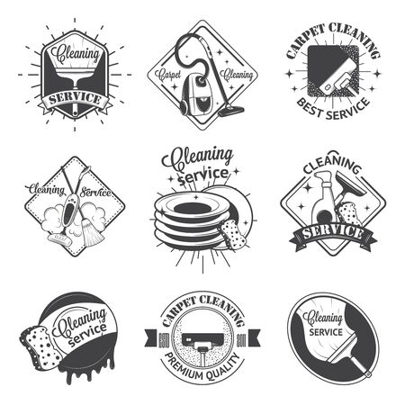 cleaning: Set of vintage logos, labels and badges cleaning services