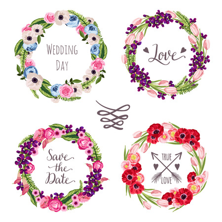 Wedding collection wreaths with hand-drawn flowers and plants Illustration