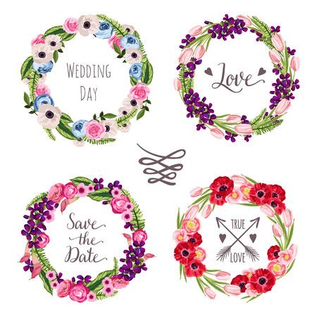 Wedding collectie kransen met de hand getekende bloemen en planten