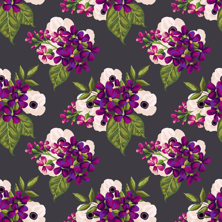 Patrón de la vendimia sin fisuras con flores pintadas