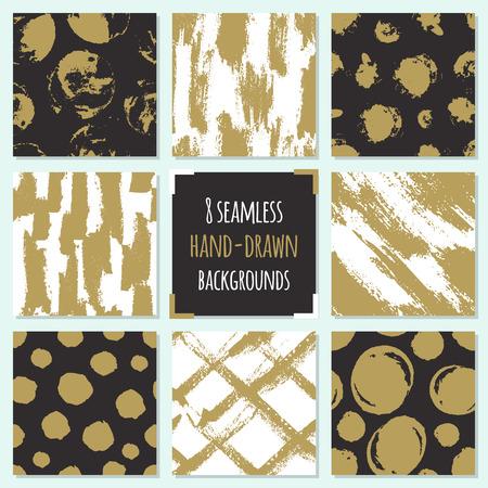 Set van 8 hand getrokken naadloze trendy patronen met inkt penseelstreken .. Geïsoleerd op witte en zwarte achtergronden