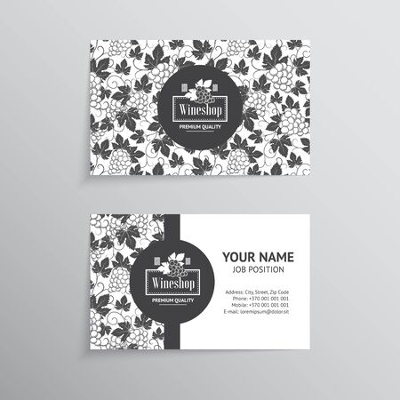 wine background: Set of business cards. Templates for wine company Illustration