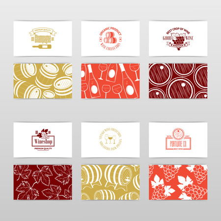 graphics card: Set of business cards. Templates for wine company Illustration