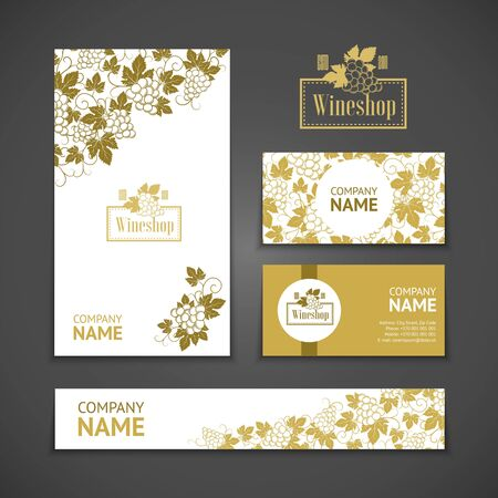 wine card: Set of business cards. Templates for wine company Illustration