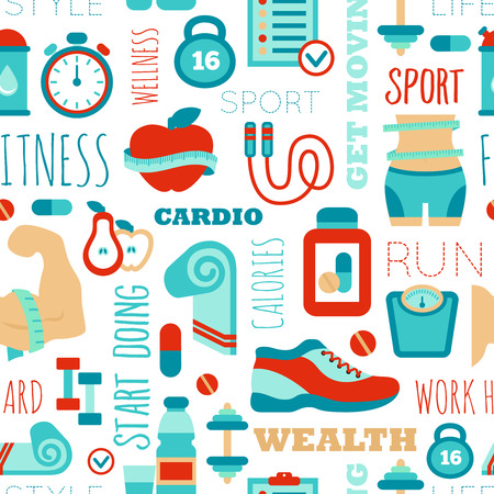 Fitness seamless patterns with sport elements and phrases Vector