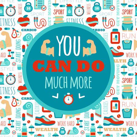 Je kunt veel meer zin op fitness naadloos patroon te doen. Motivatie sport poster Stock Illustratie