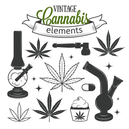 hoja marihuana: Conjunto de elementos de cannabis medicinal