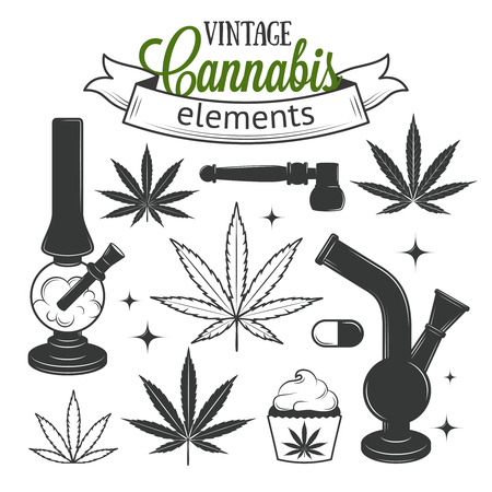 cannabis leaf: Set of medical cannabis elements