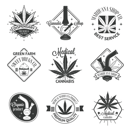 marijuana: Set of medical marijuana logos. Cannabis badges, labels and logos