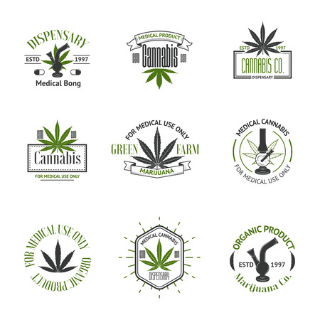 cannabis leaf: Set of medical marijuana logos. Cannabis badges, labels and logos