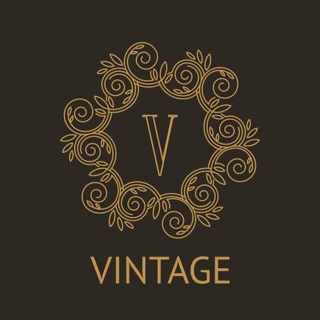 Eenvoudig en elegant monogram ontwerp sjabloon met letter V op een donkere achtergrond