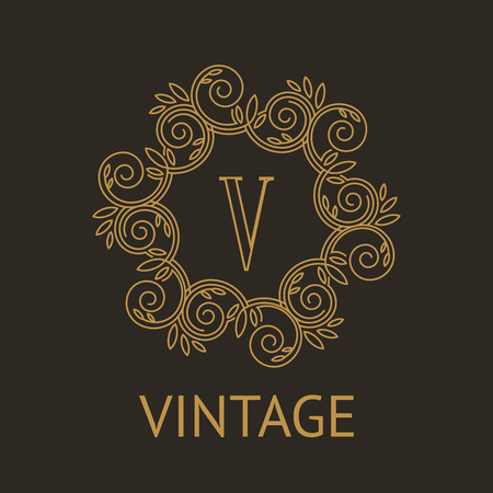 linear art: Simple and elegant monogram design template with letter V on dark background Illustration