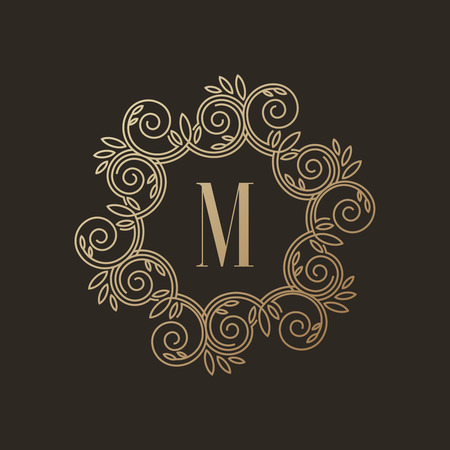 Eenvoudig en elegant monogram ontwerp sjabloon met letter M op een donkere achtergrond