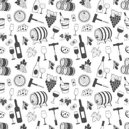 Wine seamless pattern with grapes, leaves, wine, bottle of wine and etc. Ilustração