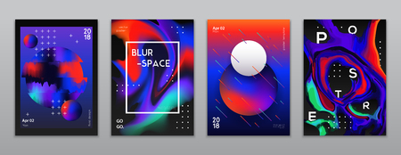 Liquid pattern design banners set