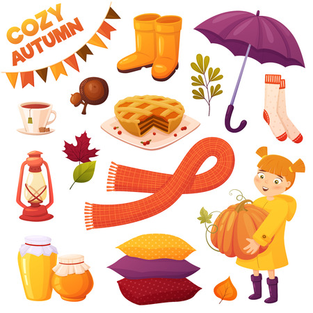 Set cozy autumn elements in cartoon style isolated on white background: little girl in yellow raincoat, scarf, lamp, pumpkin pie, acorn, cup of tea, rubber boots, pillows, honey jars, umbrella, socks and leaves. Season vector elements for design of your postcards, booklets, banners, illustrations, etc.