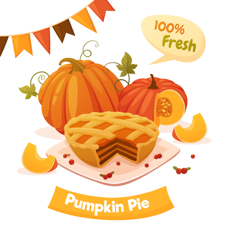 Colorful autumn poster with pumpkin pie, squashes and flags. Vector illustration isolated on white background.
