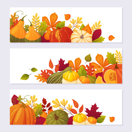 Set cartoon autumn banners with pumpkins and leaves. Colorful season template for your company.