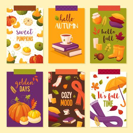 Set cartoon autumn banners including pumpkins, candles, honey jars, cup of tea, books, socks, scarf, umbrella, pillows, berries and leaves. Season vector postcards. Stock Illustratie