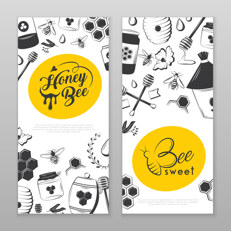 Vintage honey banners for your company. Retro vector including honey, bee, honeycomb, jars, flower, etc.