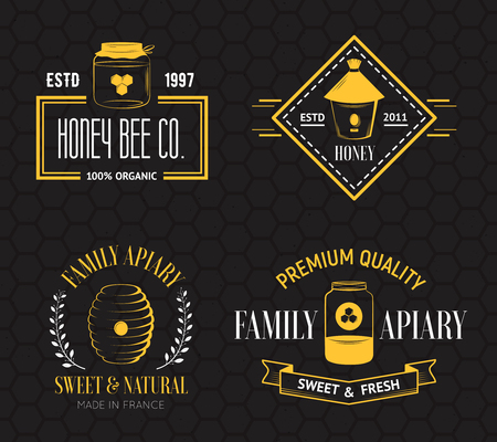 Honey and beekeeping set of vector emblems, labels, badges in vintage style.  Apiary logo template