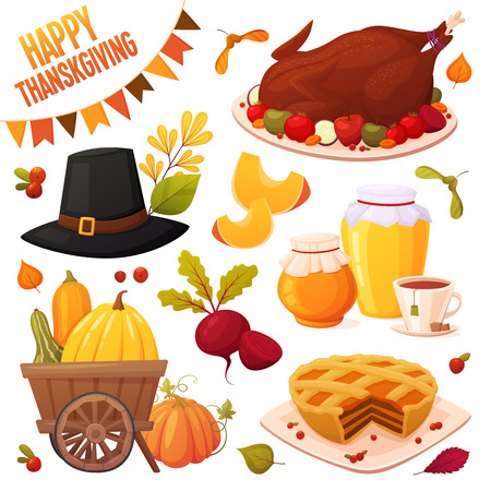 Set of cartoon autumn elements for happy thanskgiving party isolated on white background: pumpkin pie, baked turkey, honey jars, cup of tea, trolley with pumpkins, hat, beet, berries and leaves. Season vector elements for design of your postcards, booklets, banners, illustrations, etc. Stock Illustratie
