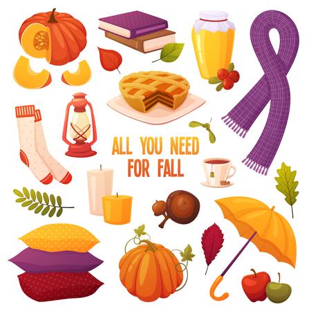 Set gezellige herfst elementen geïsoleerd op een witte achtergrond in cartoon stijl: pompoenen, kaarsen, honingpotten, kopje thee, boeken, sokken, sjaal, paraplu, kussens, bessen en bladeren. Seizoen vectorelementen voor het ontwerp van uw ansichtkaarten, boekjes, banners, illustraties, enz. Vector Illustratie