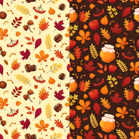 Seamless autumn pattern set in cartoon style. Vector elements: leaves, acorns, berries, apples, honey jars, etc. Stock Illustratie
