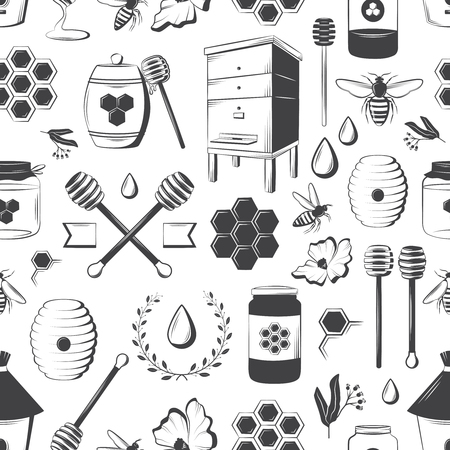 Vintage honey seamless pattern for design of your cards, labels, banners, illustrations, booklet, etc. Retro vector background.