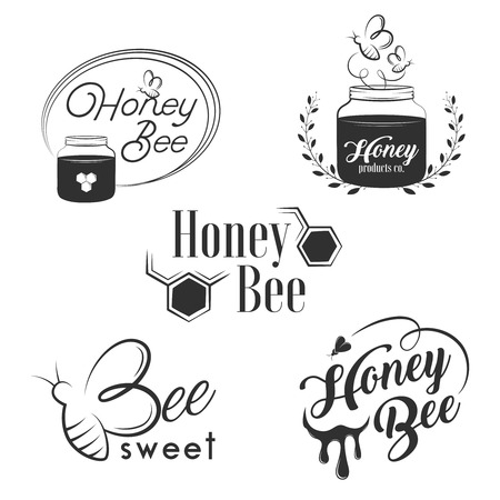 Honey and beekeeping set of vector emblems, labels, badges in vintage style isolated on white background.  Apiary logo template