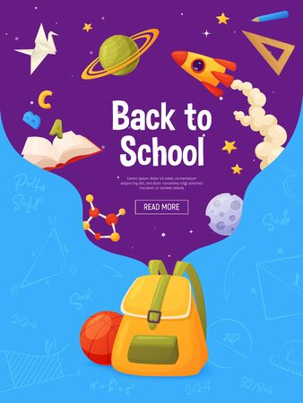 Back to school banner. Template for sale page design. Cartoon and colorful style. Backpack with flying elements: planets, molecule,star, ruler, book, ruler, pencil.