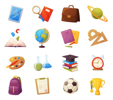 Set of school items. Cartoon objects and supplies include: books, backpack, tablet, magnifier, ball, alarm, ruler, briefcase, flasks, notebook, cap, grades list, cup. Vector education elements Иллюстрация