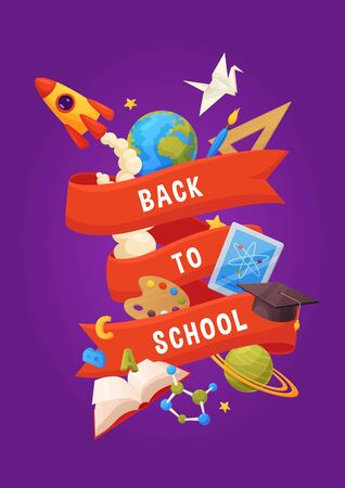 Back to school vector background. Cartoon elements: book, cap, planets, stars, paint, rocket, tablet, molecule. Template for your design Иллюстрация