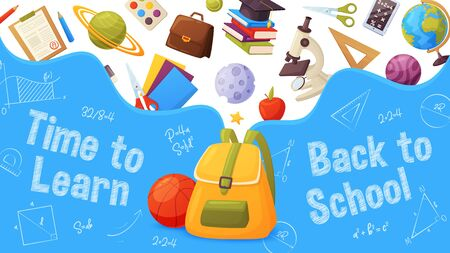 Back to school banner. Template for sale page design. Cartoon and colorful style. Backpack with flying elements: planets, microscope, globe, star, ruler, paint, books, paper, pencil. Иллюстрация