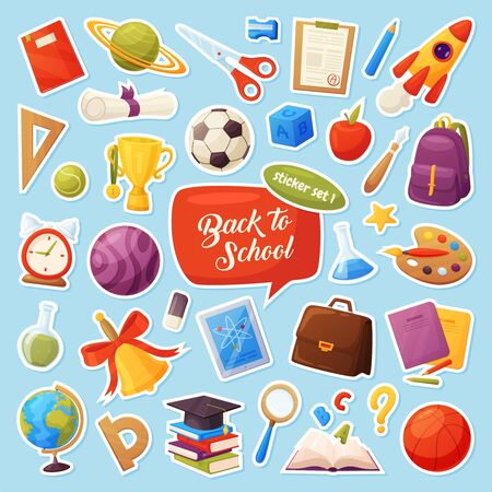 Set of school items stickers. Cartoon objects and supplies include: books, backpack, tablet, magnifier, ball, alarm, ruler, briefcase, flasks, notebook, cap, list, cup. Vector education elements