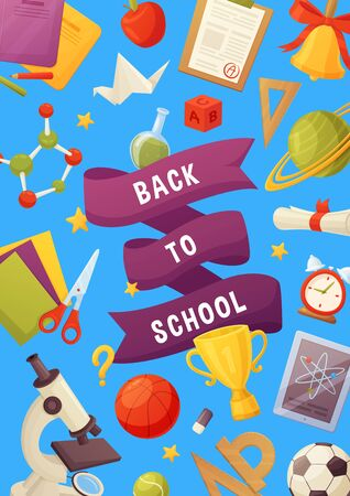 Back to school vector background. Cartoon elements: notebook, stars, planet, stars, bell, microscope, tablet, molecule, balls. Template for your design Иллюстрация