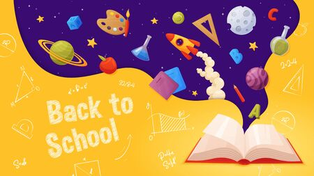 Back to school banner. Template for sale page design. Cartoon and colorful style. Open book with flying elements: planets, rocket, stars, letters, paint, ruler, notebook, pencil.